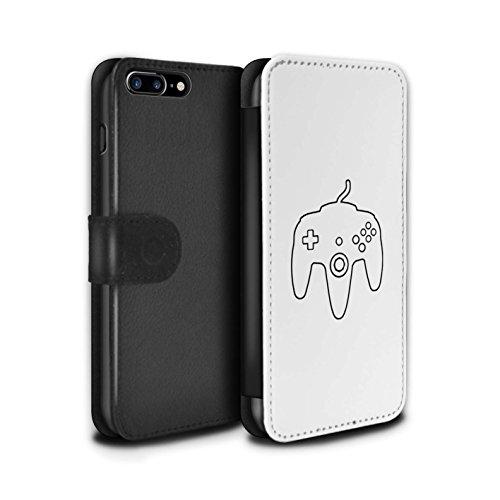 Stuff4 Coque/Etui/Housse Cuir PU Case/Cover pour Apple iPhone 8 Plus / Xbox 360 Noir Design / Manette Jeux Vidéo Collection N64 Blanc