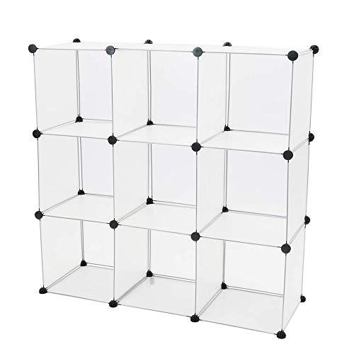 PrimeMatik - Armario Organizador Modular Estanterías de 9 Cubos de 35x35cm plástico Blanco