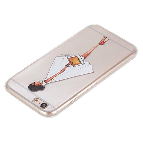 Cuitan Transparent TPU Weiche Hülle Schutzhülle für Apple iPhone 7 (4,7 Zoll), Modisch Muster Design Durchsichtig Rück Abdeckung Back Cover Case Handytasche Rückseite Tasche Handyhülle für iPhone 7 (4 Seitengesicht Mädchen