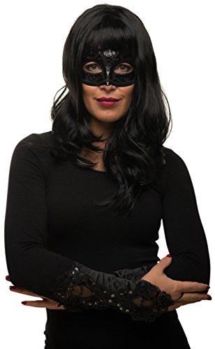 anghaar Perücke schwarz lockig / wellig + Maske + Handschuhe Fasching Karneval Kostüm - Verkleidung Frauen / Damen (Cleopatra Kostüme Maske)