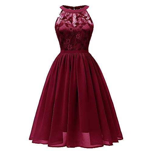 TWIFER Damen Vintage Prinzessin Blumenspitze Cocktail Neckholder Party A-Linie Swing Kleider -
