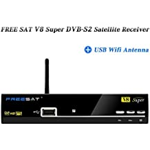 V8 Super DVB-S2 Receiver Set Top box Support Powervu Biss Key 1080P HD DVB-S2 Satellite Receiver + USB Wifi Antenna