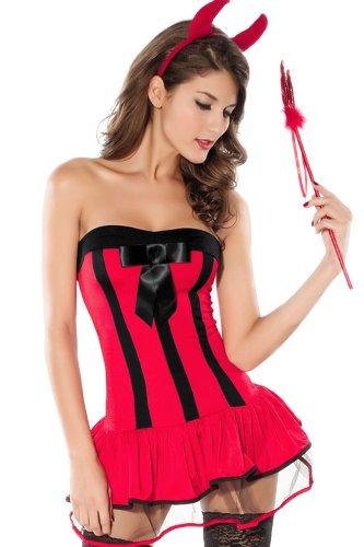 (r-Dessous Teufelskostüm rot Damen Kostüm Teufel Teufelin Hölle Devil Halloween Karneval Groesse: L/XL)