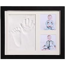 Regalo recuerdo para tu bebé, PChero equipo para enmarcado de huella de mano y pie con cristal acrílico y arcilla seguros