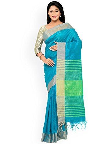 Fabattic Women's Raw Silk Saree (CHIN15827b_Blue_Free Size)