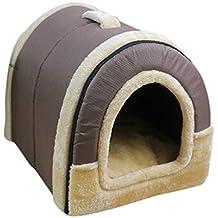 Enerhu Gato Mascota Cama Del Perro de Plegable Suave Invierno Leopardo Cueva Casa de Perro Lindo Perrera Nido Gato Cama Del Perro Gris oscuro M