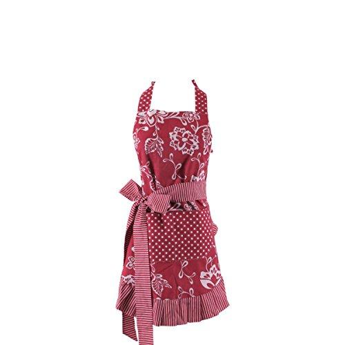 Original Verstellbarem Neckholder (Xiabing Damen Original Floral Sch¨¹rze mit Taschen, verstellbare lange B?nder f¨¹r K¨¹che, Kochen, Backen und Gartenarbeit, 54 x 73 cm Rot)