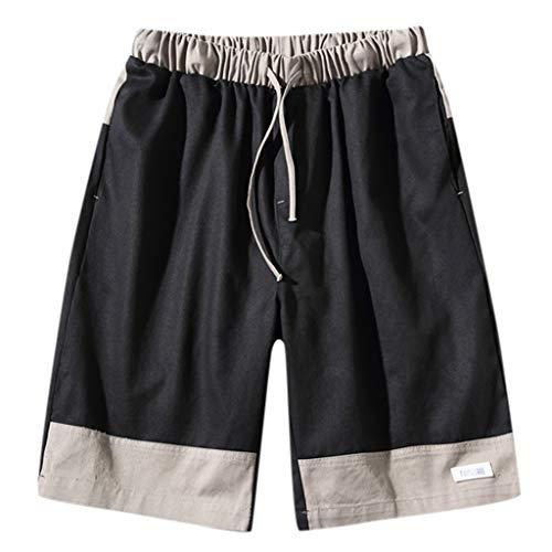 Shorts Hosen, Jogginghosen, Fitnesshosen Herren Pocket Short Pants fit Schlinge Farbe Straight Slim Fit Hosen Jeans Schwarz XXXL -