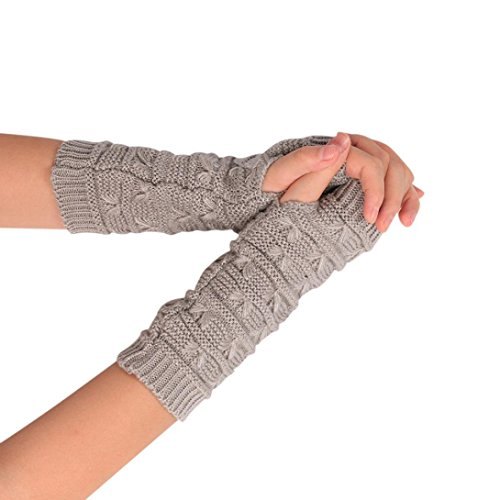 TWIFER Mode Damen Gestrickt Arm fingerlose Winter Weichen Warmen Handschuhen Armstulpen (20cm, Grau) (Kurzer Warmers Arm)