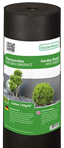 GardenMate 1m x 50m Rouleau Toile Anti-Mauvaises Herbes en Non tissé 150g/m2