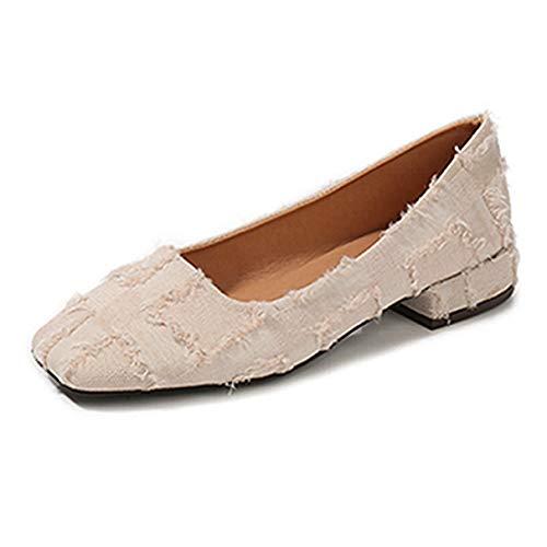 Frauen Flache Schuhe Niedrige Ferse Karree Damen Stilvolles Büro Arbeitsmokassins
