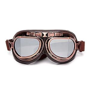 LEAGUE&CO Vintage Occhiali da Moto/Aviatore/Motocross/Casco/Protezione Classico Lenti Giallo