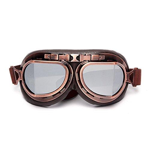 LEAGUE&CO Vintage Occhiali da Moto/Aviatore/Motocross/Casco/Protezione Classico Lenti  Fumè