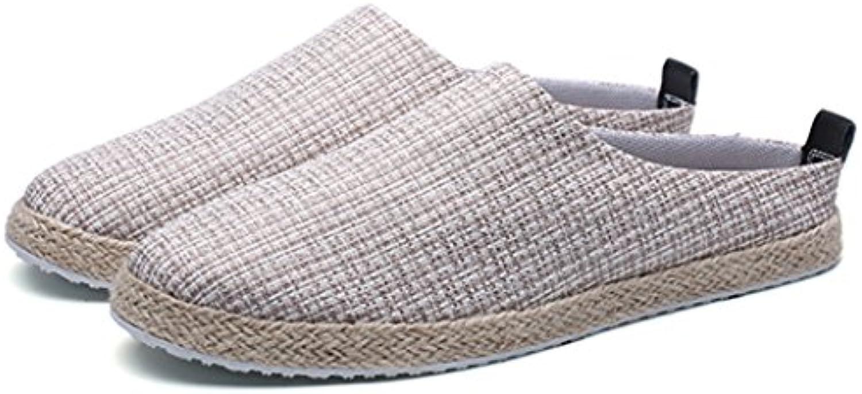 Pantuflas Ocasionales De Los Hombres Sandalias Baotou Zapatos Perezosos Zapatos Casuales De Lino