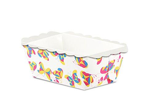 """Dr. Oetker Papier-Backformen Mini """"Schmetterlinge"""", rechteckige Einweg-Backformen für kleine Kuchen (Farbe: Bunt), Menge: 10 Stück"""
