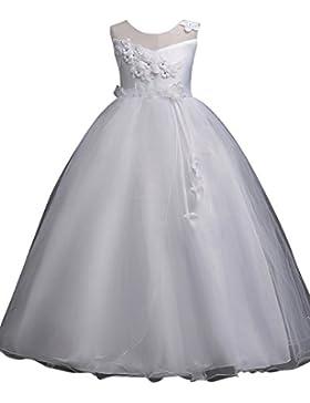 Ragazze Bambina Principessa Senza Maniche Elegante Abito per Compleanno  Festa Matrimonio Damigella d Onore Prom 6747c70759f
