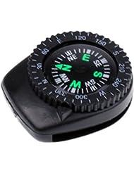 Gazechimp 1 Pieza Banda de Reloj de Brújula Navegación para Muñeca Pulsera Accesorio de Acampada Escalada de Seguridad Mini Color Negro Deportes