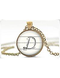 D inicial collar colgante de la letra D arte alfabeto collar