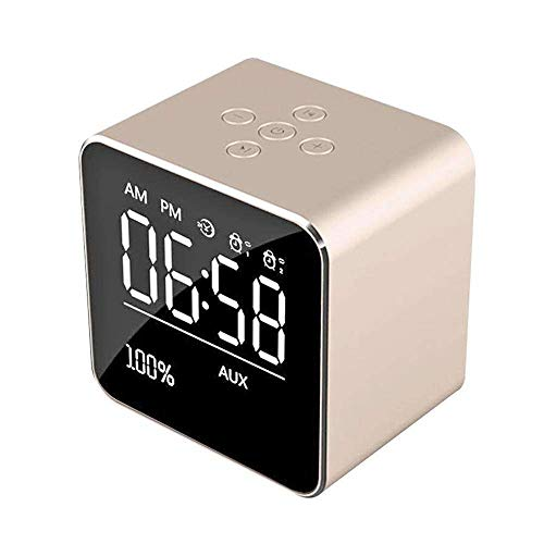 Insense Alarm Clock Radio, Wireless Bluetooth Speaker, TF Card Play, Thermometer, Large Mirror LED Dimmable Display for Android and Tablets Home,Office,Bedroom,Travel, Gold -
