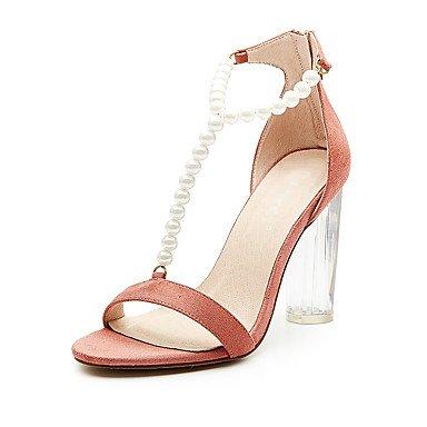 pwne Sandales Chaussures Femmes Club Tissu Summer Party &Amp; Tenue De Soirée Pearl Décontracté Fermeture Éclair Talon Noir Amandes 5Dans &Amp; Plus US8.5 / EU39 / UK6.5 / CN40