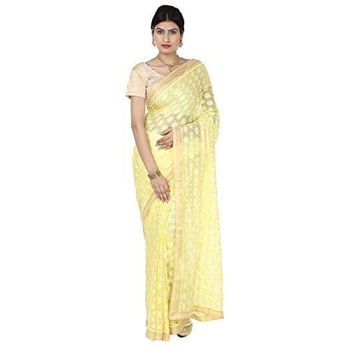 Ethnic Bliss Lifestyles Chiffon Saree (Ebl-Phksr-Ly-01_Lemon Yellow)