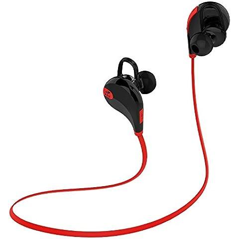 SoundPEATS Auriculares Deportivos Bluetooth cascos inalámbricos para Correr, fitness, Bicicleta y resistente al agua y sudor, Auricular con Mic y Manos Libres 8 Horas de Tiempo que Habla- (Negro/Rojo)