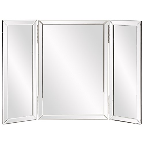 Howard Elliott Tripolis Trifold Kosmetikspiegel 53,3x 78,7cm Tisch Oben oder Wandhalterung (Große Gerahmte Spiegel Wand)
