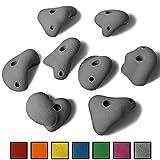 ALPIDEX 8 XL Klettergriffe im Set verschieden geformte Henkelgriffe in vielen Farben, ergonomische, kantenfreie Oberflächen, guter Grip, Farbe:Grey Stone