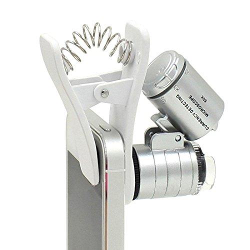 1Pcs Universal 3 LEDs Handy Mikroskop Vergrößerungsmikroobjektiv 60X optischer Zoom Teleskop Kameraobjektiv Clip
