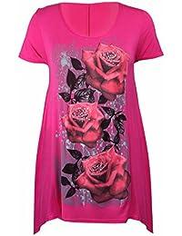 New Womens Plus Size Uneven Hanky Hem Short Sleeve T-Shirt Top Ladies Floral Rose Print Jersey Tunic