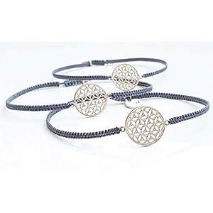 3 Armbänder für Frauen Blume des Lebens 925