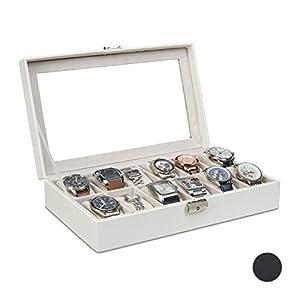 Relaxdays Uhrenbox Kunstleder, Uhrenkasten für 12 Uhren, Samt, verschließbar, HBT: 7,5 x 33,5 x 20,5 cm, versch. Farben