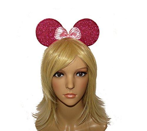 Image of **NEW** BEAUTIFUL GLITTER MINNIE MOUSE EARS - HOT PINK - FOR KIDS ADULTS - FANCY DRESS HEN - ON HEADBAND