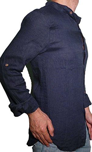 Camicia puro lino taglio avvitato slim collo coreana manica lunga leggera fresca estiva uomo ragazzo (s 44 it uomo vita 86-88, blu)