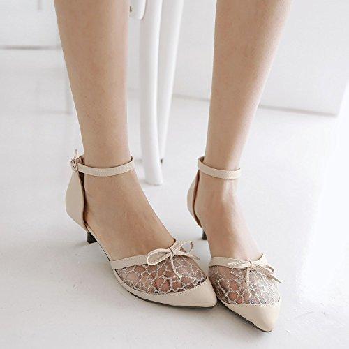 Lace Vent Pennino fibbia scarpe con le scarpe da Baotou calza il formato calza il formato dei pattini Beige