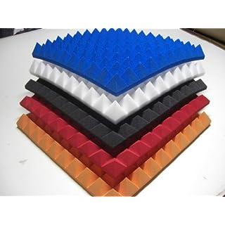 Noppenschaumstoff,Akustik Schaumstoff, Akustikschaumstoff, Pyramiden Akustik, Dämmung alle Farbe Weiß,Anthrazit,Lila,Orage,grün,Rot, (99 x 99 x 6 cm, Anthrazit/Schwarz)