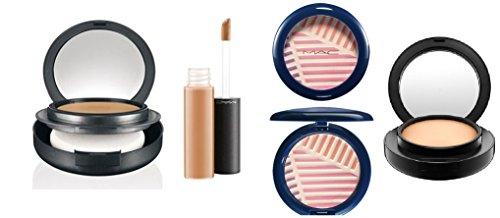 MAC Cosmetics Beautyset,4er SET (HighLight Powder/Puder, Moisturecover Abdeckstift,2x Foundation/Grundierung), als Geschenkset