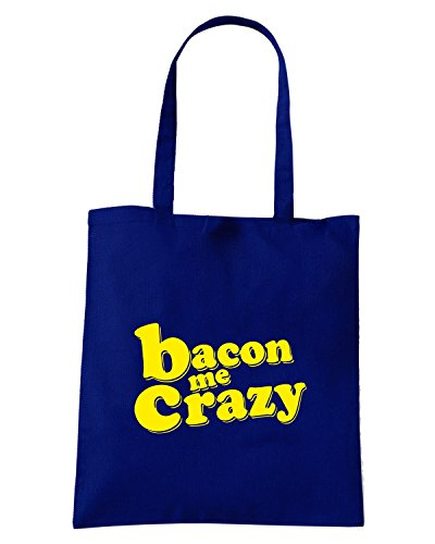 T-Shirtshock - Borsa Shopping FUN0671 bacon me crazy 20x12 wall decal Blu Navy