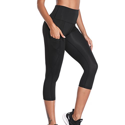 41Y Jn7UfrL. SS500  - Joyshaper Gym Leggings with Pockets Women 3/4 Length Cropped Capri Trousers Yoga Pants Tights Mesh Stretchy Skinny Slim Workout Fitness Training Athletic Tummy Control