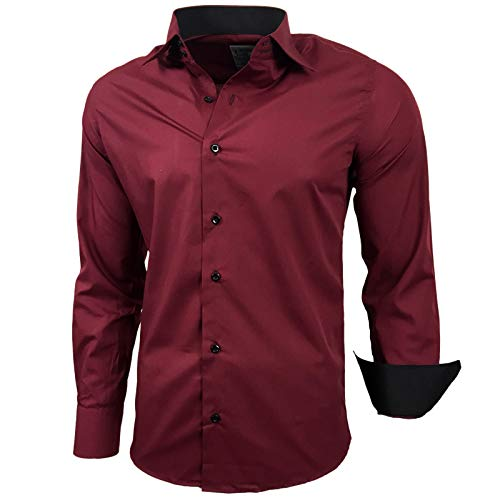 Kontrast Business Anzug Freizeit Polo Slim Fit Figurbetont Hemd Langarmhemd R-44, Farbe:Bordo;Größe:XL