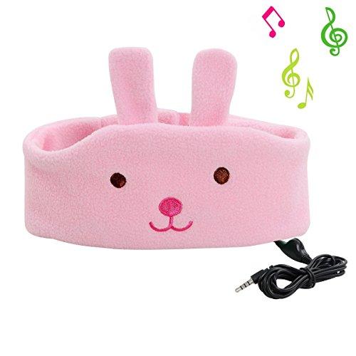 Preisvergleich Produktbild COTOP Kinder Stirnband Kopfhörer Musik Stirnband, Komfortable Volumen-Limited Soft Fleece Stirnband - Perfekt für Kinder (Rosa Kaninchen)