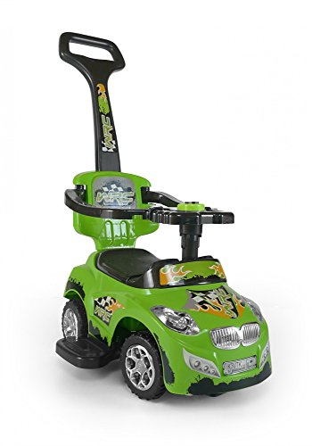 Ride On, Rolling Toy, Walker, Rolling Car with removable push handle, folding seat, Color:Green