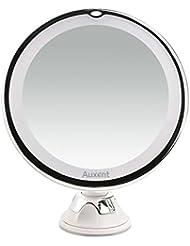 Auxent Miroir Grossissant 10X Miroir Lumineux LED Miroir Maquillage Rond Mural Salle de Bain Orientable à 360 Degrés, Fixation parVentouse, Blanc