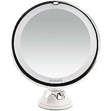 Auxent Espejo Cosmético LED con Ampliación 7X y Poderoso Ventosa, Rotación 360°, Portátil y Sin Cable, Espejo de Cortesía con Iluminación Sin Deslumbramiento, Para el Hogar y Los Viajes, Blanco