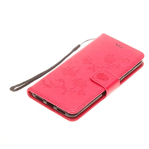 Hülle für Huawei P8 Lite 2017, Tasche für Huawei P8 Lite 2017, Case Cover für Huawei P8 Lite 2017, ISAKEN Blume Schmetterling Muster Folio PU Leder Flip Cover Brieftasche Geldbörse Wallet Case Lederta Lotus Schmetterlinge Rot