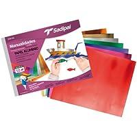 Sadipal 936182 - Cuaderno de manualidades papel aluminio, 10 hojas, multicolor