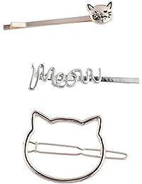Lux Accessories Haarklammer, Katzen-Gesicht, 3 Stück