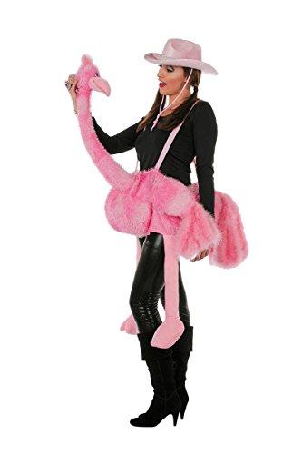 Vogel Strauss Reittier für Erwachsene Kostümzubehör pink (Reittier Kostüm)