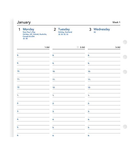 Filofax Week on Two Pages English Column Format 2020 Diary