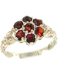 Luxury Ladies Solid Sterling Silver Natural Garnet Victorian Daisy Ring